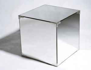 Timeless 1920's Bauhaus Design - Mirrored Side Table / Storage Cube - New